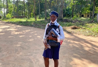 Fatmata S. Kamara with her new back to school kit ©UNFPASierra Leone/2020/John Sesay