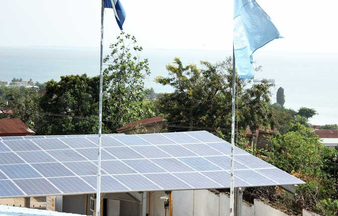 Solar panels in the UNFPA Sierra Leone office compound in Freetown